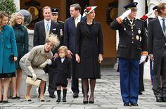 Princess Alexandra of Hanover,Princess Caroline of Hanover, Sacha Casiraghi,Princess Charlene of Monaco and Prince Albert II of Monaco attend the Monaco National Day Celebrations in the Monaco Palace Courtyard on November 2016 in Monaco, Monaco.