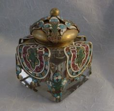 """Gorgeous Antique French Champleve Inkwell """"BIG"""""""