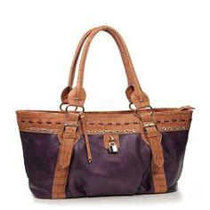 Purple Rhinestone Fashion Large Handbag