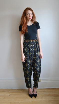 90s BAROQUE geometric print high waist harem pants // metallic gold ETHNIC hippie boho floral printed GYPSY revival parachute genie pants