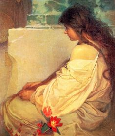 Alphonse Mucha, Girl with Loose Hair and Flowers