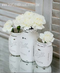 Painted Mason Jars: Annie Sloan Chalk Paint in Pure White