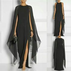 Black maxi dress with cape sleeves and front slit