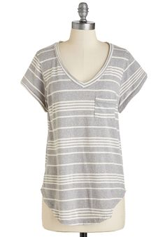 Calm to My Window Top in Pebble. Open a good book and take in the morning, styled serenely this striped tee. #grey #modcloth