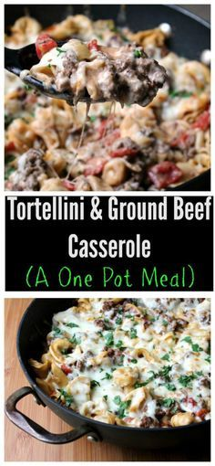 This cheesy, beefy, tortellini casserole has quickly become one of my family favorites.  Plus, it's one of my favorites, not only for the taste but I love a meal that is ready in under 30 minutes and is made in one pan for easy cleanup!