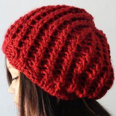 Free knitting pattern: Rickrack Rib Slouchy Hat Pattern