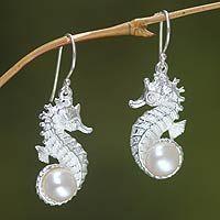 Pearl dangle #earrings, 'Sea Horse Treasure,' by Desi Antari from Bali