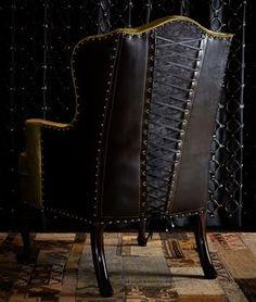 Corset chair for Gothic / Steampunk look Gothic Furniture, Furniture Decor, Furniture Design, Leather Furniture, Steampunk Furniture, Dark Furniture, Steampunk Interior, Steampunk Home Decor, Tuscan Furniture
