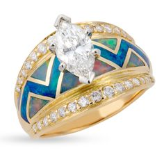 River Of Love Ring with  Flared Pavè Edge
