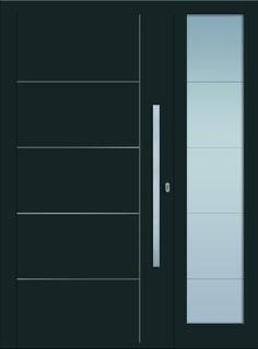 Modell Heze 2 Aluminium-Eingangstüre in grau mit Seitenteil - Außenansicht! Sternstunden-Türen erhätlich bei Fenster-Schmidinger aus Gramastetten in Oberösterreich! #doors #türen #alutüren #sternstunden