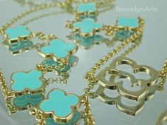 Clover Necklace - Vivienne - Clover Leaf Necklace in Turquoise