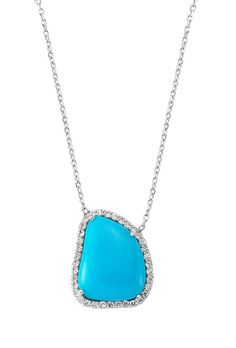 Turquoise White Gold 18K Necklace with by RisusDiamond on Etsy
