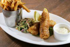 Atlantic Cod Fish n' Chips  guinness beer battered, minted peas, superfoods slaw, & lemon-tartare sauce