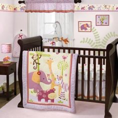 Girl safari animal baby crib bedding. Pink, lavender, orange and green animal baby bedding. Monkey, elephant, giraffe, hippo, and zebra are perfect for any baby girl nursery. Lil Friends baby crib bedding by Bedtime Originals.