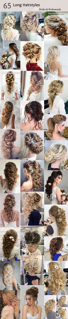 Long Wedding Bridesmaid Hairstyles & Bridal Updos