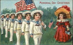 MEMORIAL DAY Little Girl Watches Parade of Little Boy Sailors c1910 Postcard