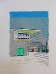 medverf:  Albert Zwaan - signal box (architect, Sybold van Ravesteyn) Oil pastel on paper, size: 30x40 cm