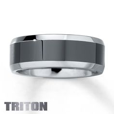 Men's Wedding Band Tungsten Carbide with Ceramic