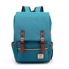 Retro outdoor canvas backpack Sky Blue