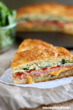 Baked Italian Sandwich - layers and layers of flavor. One of the BEST sandwiches I have ever had. Party Sandwiches, Italian Sandwiches, Baked Sandwiches, I Love Food, Good Food, Yummy Food, Great Recipes, Dinner Recipes, Favorite Recipes