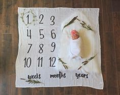 Organic Cotton Milestone Blanket for baby/toddler photos!