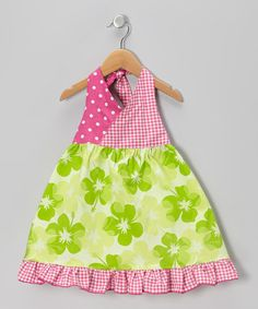 Take a look at this Green Hibiscus Halter Dress - Toddler & Girls by Beary Basics on #zulily today!