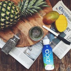 ' my morning mango chia seed smoothie w/ @zicococonut  | 1 cup ZICO natural coconut water, 1 cup mango chunks, 1/2 cup pineapple chunks, 1 handful spinach, 1/4 cup non fat Greek yogurt, & 2 tbsp chia seeds | #CrackLifeOpen #NourishtoFlourish' via @lowstoluxe