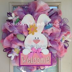 Easter Bunny Welcome Door Wreath by SouthernWreathDesign on Etsy, $105.00