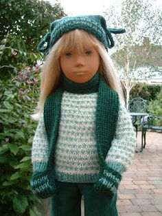 #Free Pattern; knit; 18 inch doll; American Girl; hat and mitten-scarf  ~~