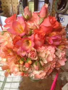 The coral hand tied nosegay. Hydrangea, Iguana Roses, freesia, alstroemeria, spray rose, hypericum. Nosegay, Spray Roses, Hydrangea, Wedding Designs, Coral, Flower Wrap, Hydrangea Macrophylla