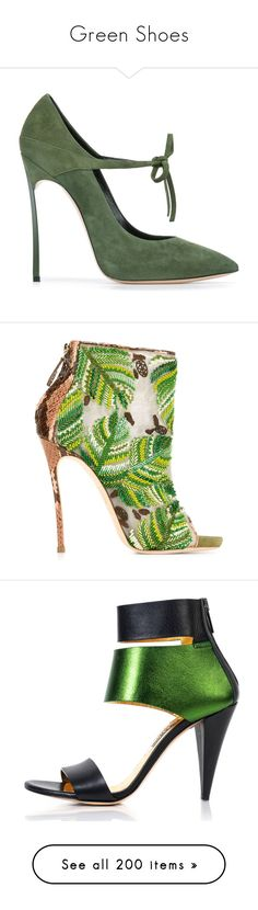 """""""Green Shoes"""" by brassbracelets ❤ liked on Polyvore featuring shoes, pumps, heels, high heels, scarpe, green, leather lace up shoes, casadei pumps, green high heel shoes and lace up pumps"""