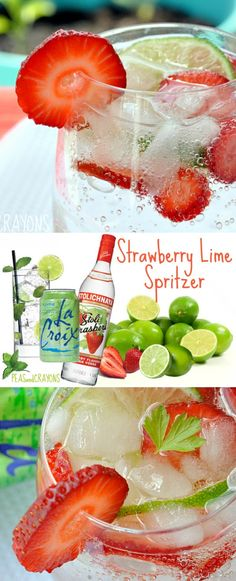 Strawberry Lime Spritzer Skinny Strawberry Lime Spritzer - my favorite Spring drink!Skinny Strawberry Lime Spritzer - my favorite Spring drink! Party Drinks, Fun Drinks, Yummy Drinks, Skinny Alcoholic Drinks, Pool Drinks, Beach Drinks, Summer Cocktails, Cocktail Drinks, Summer Beverages