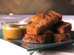 Get Bobby Flay's Cinnamon Sugar French Toast Sticks with Maple Cream Recipe from Cooking Channel