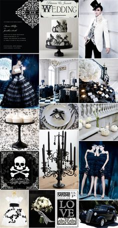Inspiration Board: A Posh Halloween Wedding in Black & White | Pixel & Ink