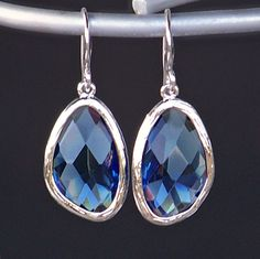 Sapphire Blue Crystal Framed in Silver with Silver French Earrings