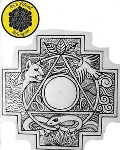 """José Leonidas Jancidakis Arce on Instagram: """"Arte inspirada na Cultura Andina, que corre nas minhas veias. A chakana, poderoso símbolo de Ascenção e conexão cósmica, os quatro…"""" Tattoo Inca, Sweet Pea Tattoo, Inca Art, Native Symbols, Peruvian Art, Wiccan, Moon Tattoo Designs, Pen Art, Body Mods"""