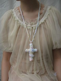 Pastel cross cult party kei necklace from PonPon Kei