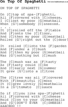 Childrens Songs and Nursery Rhymes, lyrics with chords for guitar, banjo etc for song on-top-of-spaghetti