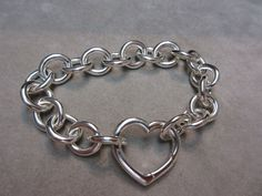 TIFFANY & CO HEART CLASP STERLING SILVER CHARM BRACELET - 45.5 gram - 8.0 #TiffanyCo