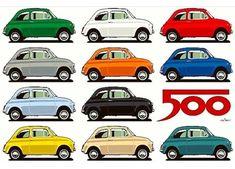 'Fiat 500 side view' Poster by Volkswagen Phaeton, Volkswagen Golf Mk1, Fiat Cinquecento, Fiat 500c, Fiat Abarth, Audi A8, Best Classic Cars, Steyr, Car Shop