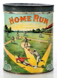 Home Run Tobacco tin with baseball graphics