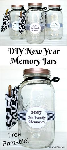 DIY New Year Memory Jar with free printable label. Start one for your family or make these as gifts for friends. #WaverlyInspirations Ad