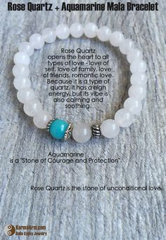 LOVE: Rose Quartz + Aquamarine Yoga Mala Bracelet – Karma Arm