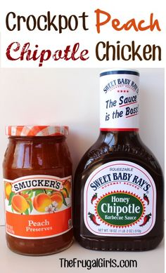 Crockpot Peach Chipotle Chicken -- absolutely delicious and super easy! --- also doesn't take as long as most crockpot meals. Crock Pot Recipes, Crockpot Dishes, Crock Pot Cooking, Slow Cooker Recipes, Chicken Recipes, Cooking Tips, Cooking Recipes, Crockpot Meals, Freezer Meals