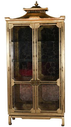 Golden Pagoda Armoire Display Cabinet Manner of James Mont