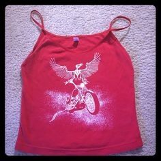 Harley Davidson Hollywood Red tank top Red spaghetti strap tank top. Harley Davidson Hollywood logo in white. Classic Girl  Tops Tank Tops