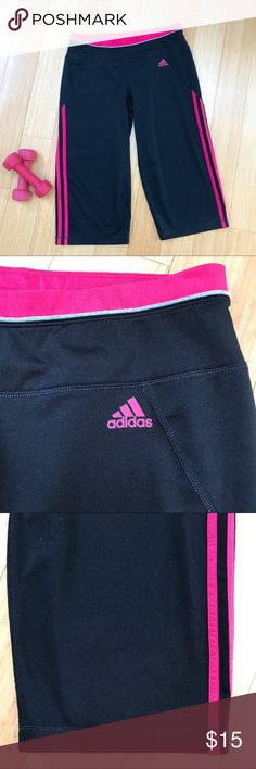 ADIDAS workout capris, M. Adidas black and pink workout exercise capris, size medium. Climalite. Very good condition with no flaws. Elastic waist measures 14.5 inches across, inseam is 17.5 inches across, leg opening is 8.5 inches across. Really comfortable. adidas Pants Capris