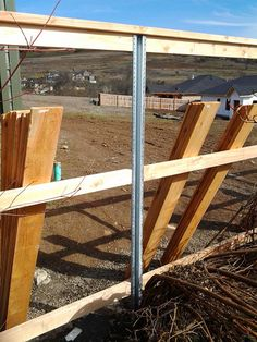 These steel posts are engineered to provide you with the strength of steel without sacrificing the natural beauty of wood. Constructed of structural steel with a heavy galvanized coating, Postmaster . Hog Wire Fence, Metal Fence Posts, Diy Fence, Fence Ideas, Pallet Fence, Galvanized Fence Post, Wooden Fence, T Post Fence, Fence Construction