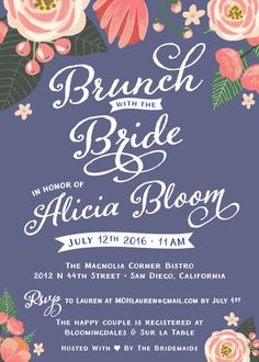 These beautiful Bridal Shower Invites & Ideas are the perfect way to set the tone for your event! Floral Bridal Shower Invitations - Brand New 2016 Spring / Summer Trending Invites & Stationery - FREE PERSONALIZATION - 78 FREE CUSTOM COLORS to choose from - Navy Blue, Blush Pink, Peach, Rose Quartz, Coral, Dove Gray, Green, Mint, White, Shades of Blue - Printed Invites & Notecards - Bridal Shower Themes and Activities