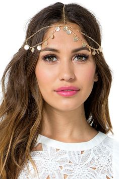 Follow your free spirit in this gorgeous gold head chain! A boho-perfect gold draped crown featuring textured metal chips and lobster clasp closure. Gold polished metal body. $10.50